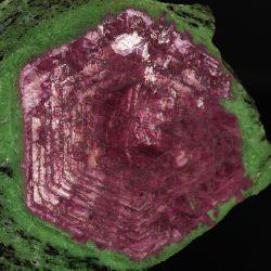 Rubin (korund), zoisyt, pargasyt - zonalna budowa - Tanzania