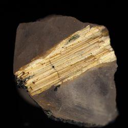 Złoty rutyl na krysztale górskim, hematyt - Brazylia