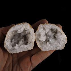 Geoda z kryształem górskim - dwie części - Maroko